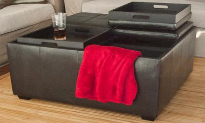 Best Choice Products Leather Ottoman With 4 Tray Tops