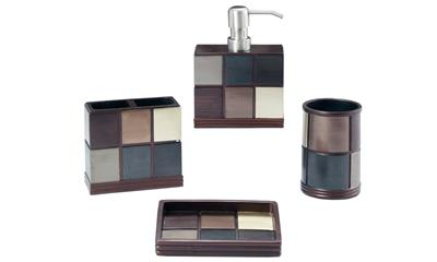 Grand Luxe Oxford Bath Accessory 4-piece Set