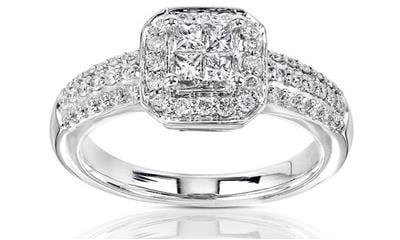 Annello 14k Gold 1/2ct TDW Princess-cut Diamond Halo Engagement Ring