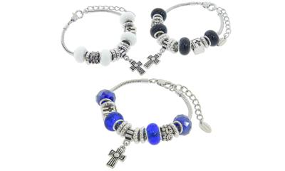 Eternally Haute Murano Style Glass Cross Charm Bracelets