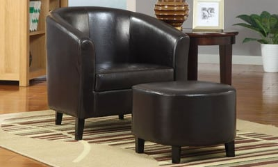 Coaster 900240 Vinyl Accent Chair with Ottoman