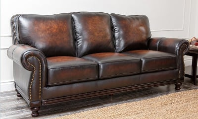 Abbyson Living Barclay Leather Sofa in Espresso