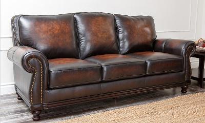 Abbyson Living Barclay Leather Sofa in Espresso