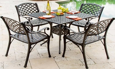 Lakeview Outdoor Designs Heritage 4-Person Cast Aluminum Patio Dining Set With Square Table