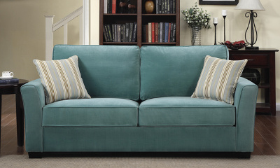 Portfolio Home Furnishings Tara Turquoise Blue Velvet Sofa