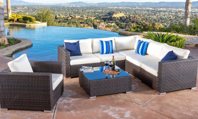 Santa Rosa Outdoor 7-piece Wicker Seating Sectional Set