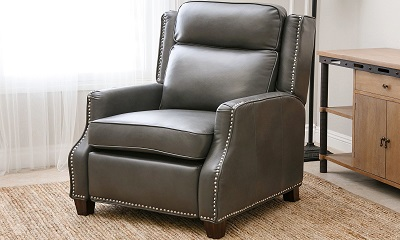 Abbyson living richfield pushback leather recliner for Abbyson living sedona leather chaise recliner