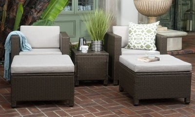 Christopher Knight Home Puerta 5-piece Outdoor Wicker Chat Set