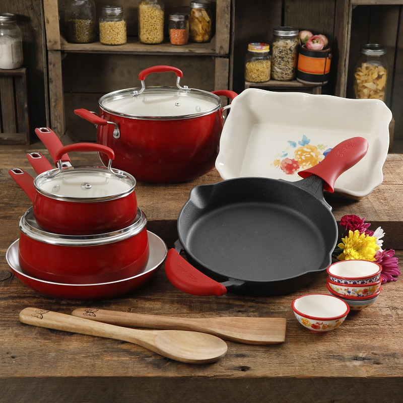 The Pioneer Woman Fiona Floral 17pc Cookware Set 2018