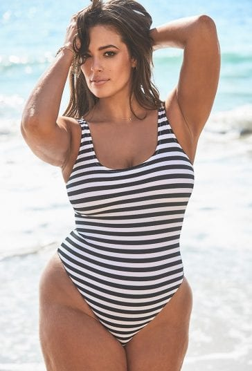 a65cf5f2cdc Ashley Graham x Swimsuits For All Hotshot Striped Ribbed One Piece Swimsuit