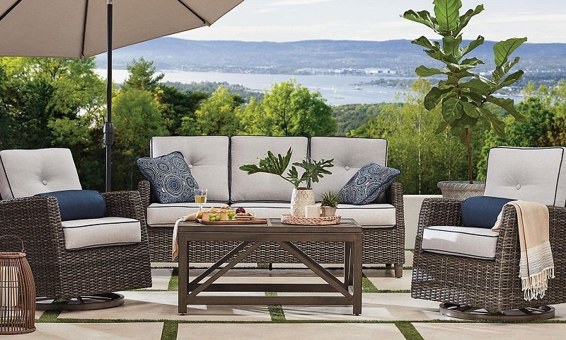 Awesome Members Mark Agio Fremont 4Pc Patio Deep Seating Set 1 199 Onthecornerstone Fun Painted Chair Ideas Images Onthecornerstoneorg