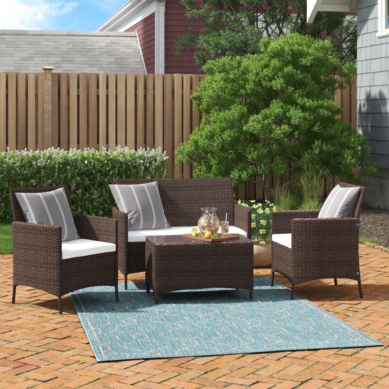 Andover Mills Laisha 4 Piece Rattan Sofa Seating Group