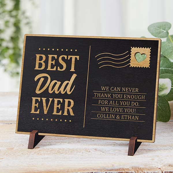 Best Dad Ever Personalized Wood Postcard