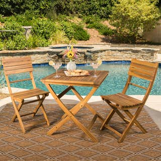 Christopher Knight Home Positano Outdoor 3-piece Foldable Acacia Wood Bistro Set