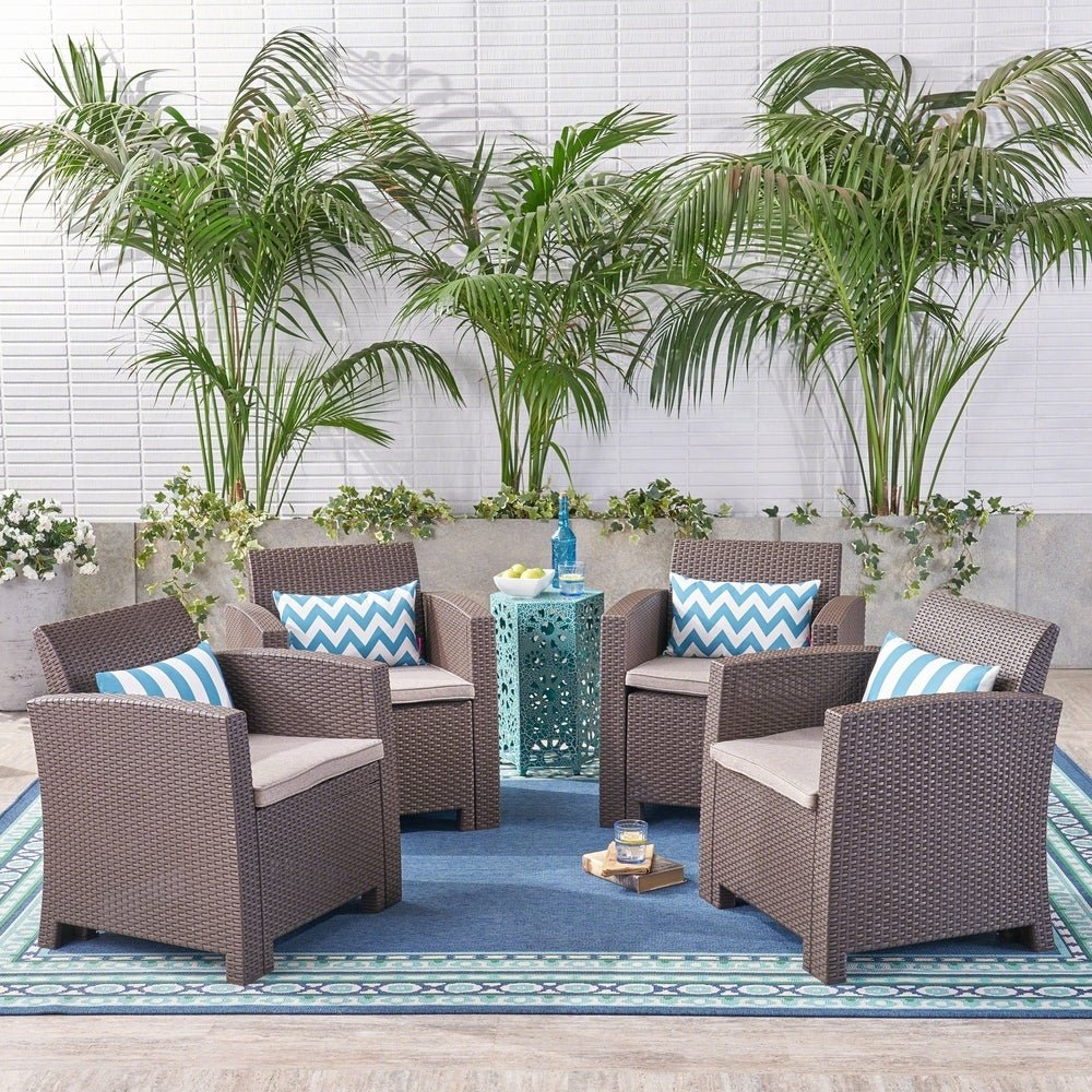 Christopher Knight Home St. Johns Outdoor Faux Wicker Print Club Chair (Set of 4)