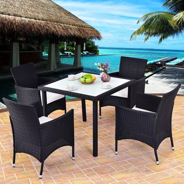 Costway 5-Piece Outdoor Patio Rattan Table Set