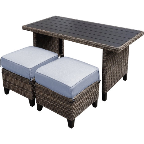 Creative Courtyard Clearwater 2-Pc Wicker Cushion Chow Height Set