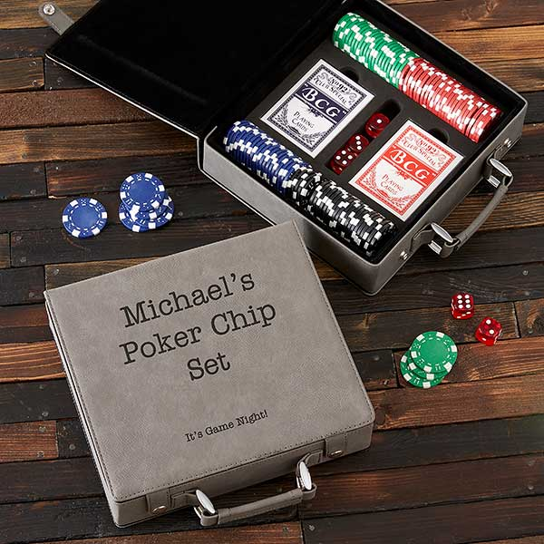 Expressions Personalized Grey Leatherette Poker Chip Set