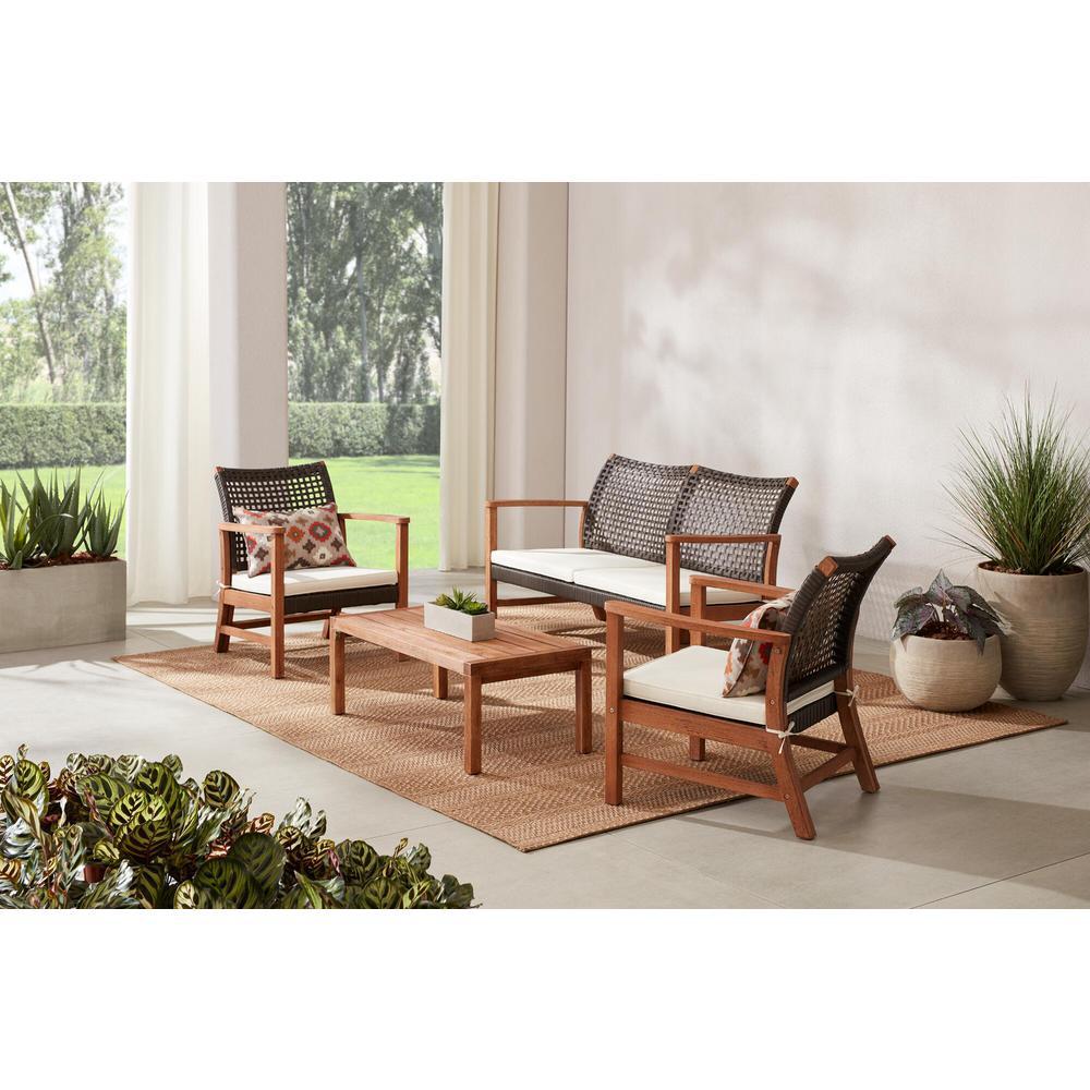 Hampton Bay Clover Cay 4-Piece Wicker Outdoor Patio Conversation Seating Set