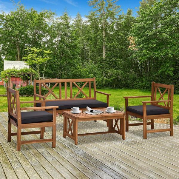 Outsunny 4-Piece Wooden Patio Conversation Set