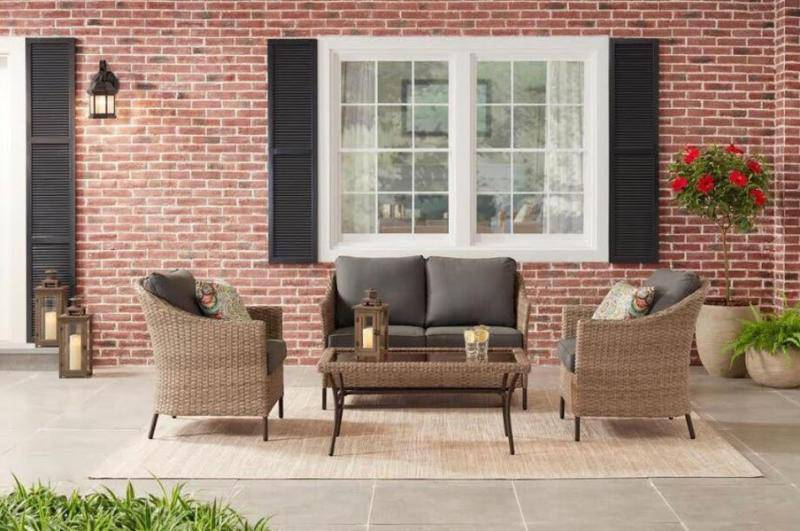 StyleWell Kendall Cove 4-Piece Steel Patio Conversation Outdoor Seating Set