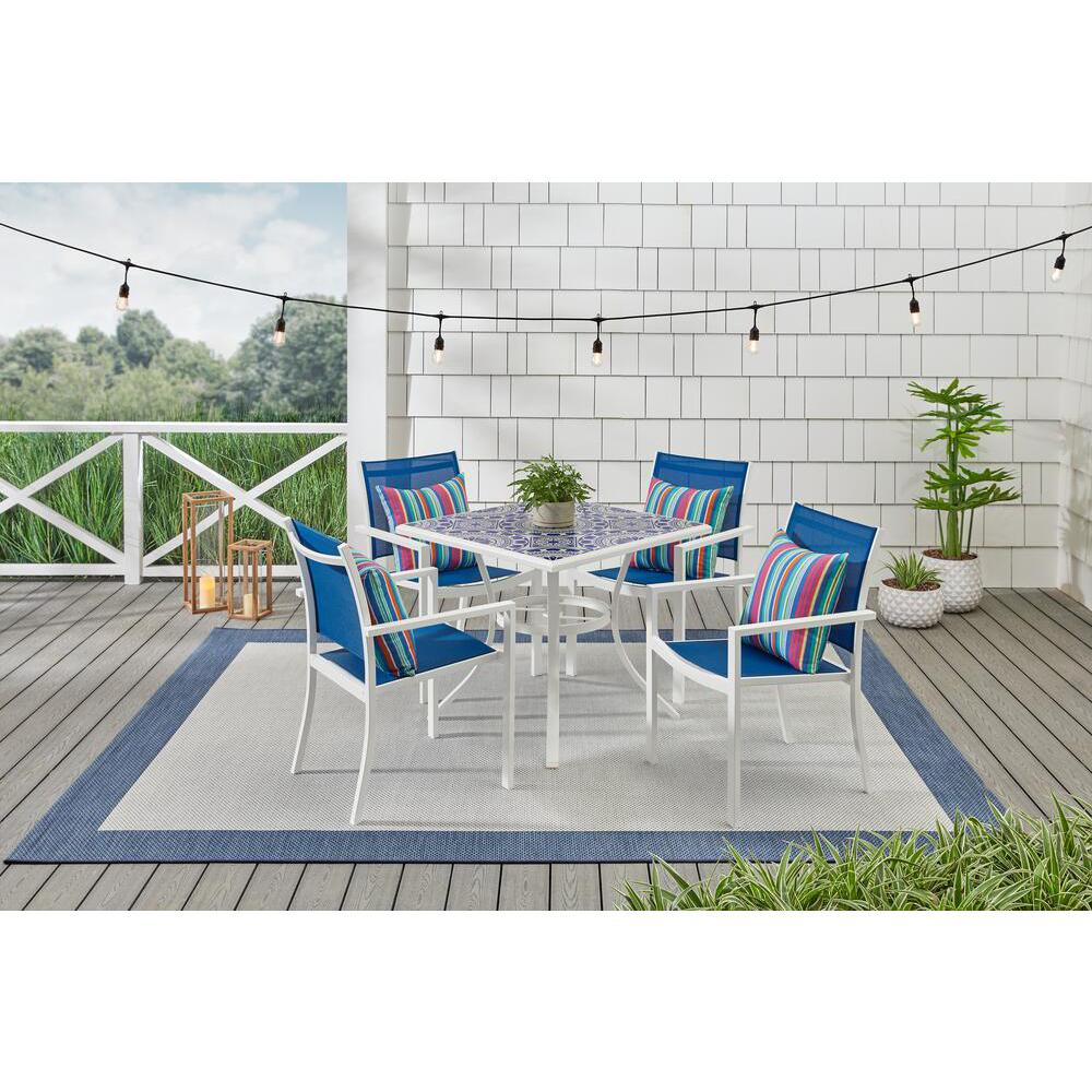 StyleWell Marivaux Blue and White 5-Piece Steel Outdoor Patio Dining Set